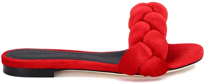 Marco De Vincenzo Braided Velvet Flat Sandal
