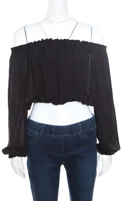 Elizabeth and James Black Sheer Silk Off Shoulder Denny Peasant Crop Top S