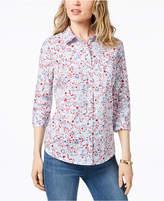 Karen Scott Cotton Floral-Print Shirt, Created for Macy's