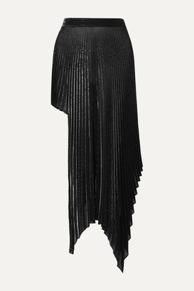 Peter Do Asymmetric Pleated Metallic Voile Skirt