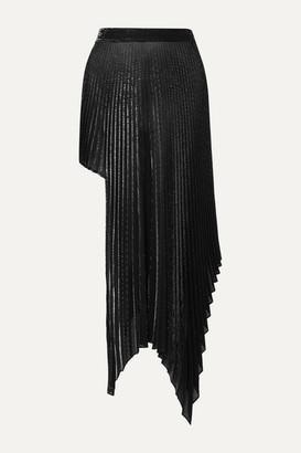 Peter Do Asymmetric Pleated Metallic Voile Skirt - Silver