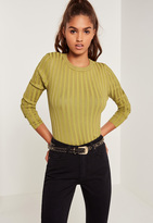 Missguided Extreme Rib Basic Crop Sweater Green