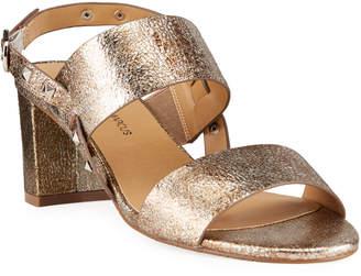 Neiman Marcus Myla Metallic Slingback Sandals