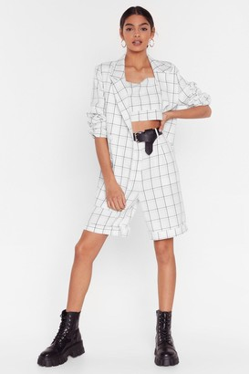 Nasty Gal Womens Oversize Check Print Blazer with Button Closures - White
