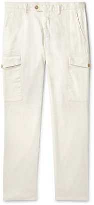 Thom Sweeney Navy Slim-Fit Stretch Linen And Cotton-Blend Cargo Trousers