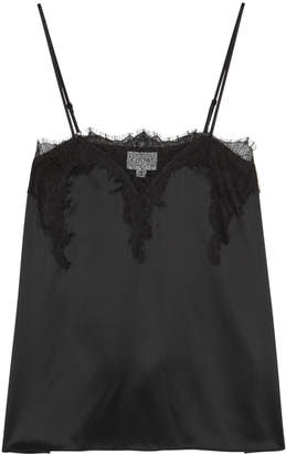 CAMI NYC The Sweetheart Black Silk Charmeuse Top
