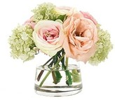 The Well Appointed House Pink and Peach Silk Ranunculus Roses in a Glass Pyramid Vase