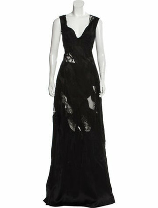 Ermanno Scervino Lace-Accented Maxi Dress Black