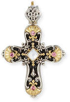 Konstantino Cross Pendant with Pink Tourmaline & Mother-of-Pearl