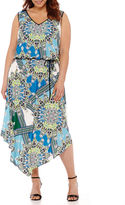 London Times London Style Collection Sleeveless Printed Blouson Maxi Dress - Plus