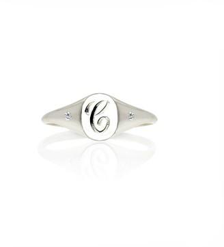 No 13 Mini Initial & Diamonds Signet Ring Silver
