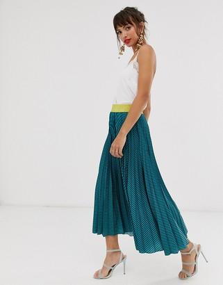 Closet London Closet pleated skirt in teal stripe print-Blue