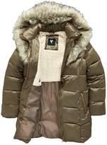 Very Girls Metallic Faux Fur Hooded Padded Coat
