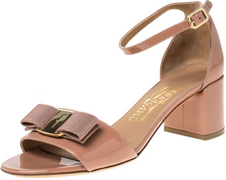 Salvatore Ferragamo Beige Patent Leather Ankle Strap Sandals Size 36