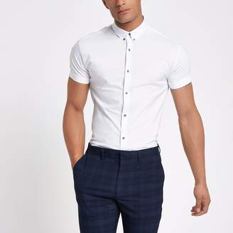 River Island Mens White muscle fit short sleeve shirt