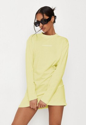 Missguided Lime Basic T Shirt Dress