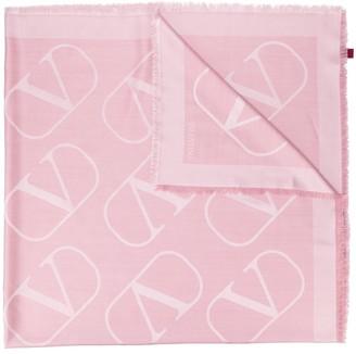 Valentino VLOGO fringed scarf