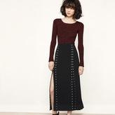Maje Long slit skirt with studs
