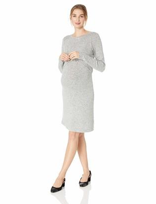 Motherhood Maternity Women's Maternity Brushed Hacci Lift Up Nursing Dress Grey Medium