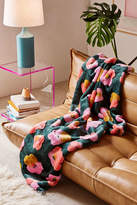 Urban Outfitters Penny Floral Faux Fur Throw Blanket