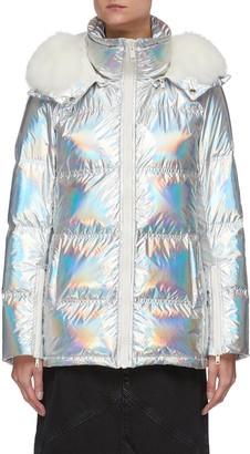 Army by Yves Salomon Fox trim hood holographic puffer jacket