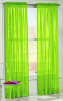 No. 918 Calypso Sheer Voile Rod Pocket Curtain Panel, 59 x 63 Inch, Green