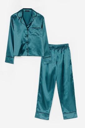 Nasty Gal Womens Straight to Sleek Satin Pyjama trousers Set - Green - 6, Green
