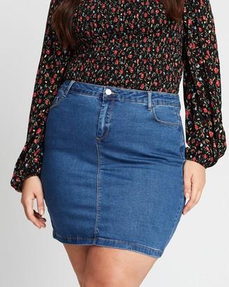 Missguided Curve Super Stretch Denim Mini Skirt