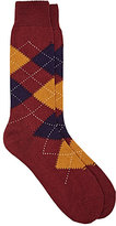 Barneys New York Men's Argyle Wool-Blend Mid-Calf Socks-BURGUNDY, PURPLE, YELLOW, WHITE