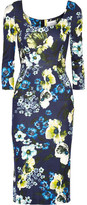 Erdem Tess Floral-print Stretch-ponte Dress - Navy
