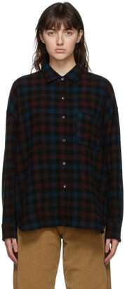 6397 Brown Wool and Cashmere Check Lori Shirt
