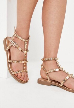 Missguided Rose Gold Dome Stud Gladiator Sandals