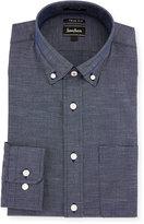 Neiman Marcus X-Trim Regular-Finish Dot-Print Dress Shirt, Navy
