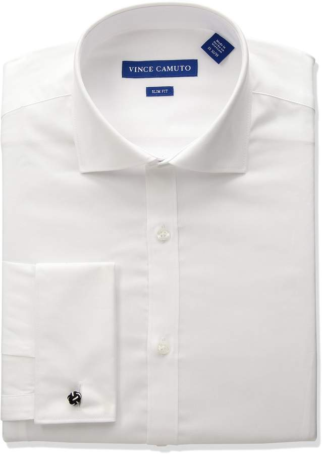 Vince Camuto Men's Slim Fit Stretch Collar Performance French Cuff Dress Shirt
