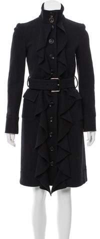 Diane von Furstenberg Ruffle-Accented Knee-Length Jacket