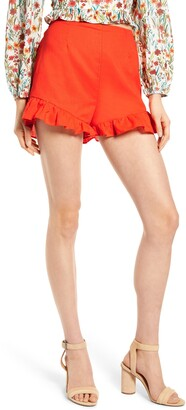 Lost + Wander Papaya Ruffle Shorts