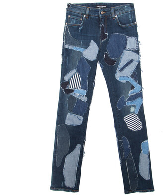 Dolce & Gabbana Indigo Faded Effect Patchwork Detail Distressed Skinny Jeans S
