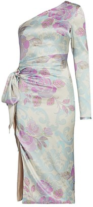 Adriana Iglesias Brun One-Shoulder Floral Jacquard Dress