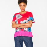 Paul Smith Women's Red 'Ocean Floral' Print Cotton T-Shirt