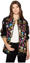 Nicole Miller Whimsical Jungle Leather Embroidered Bomber Women's Coat
