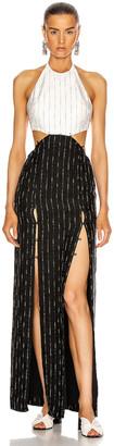 Dion Lee Pinstripe Tie Gown in Black & Ivory | FWRD