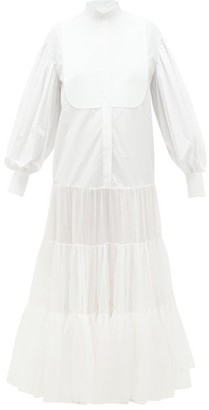 Valentino Tiered Cotton And Silk Dress - White