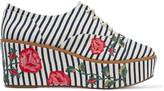 Schutz Mila-Grace embroidered striped canvas platform brogues