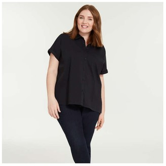 Joe Fresh Women+ Short Sleeve Shirt, JF Black (Size 1X)