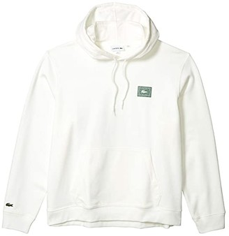 Lacoste Long Sleeve Hooded Sweatshirt with Large Stamp Badge on Front Chest Stamp (Appalachan Green) Men's Clothing