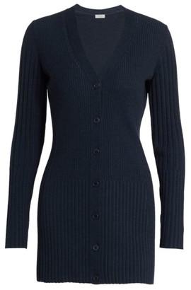 Akris Punto Long Ribbed Wool Cardigan
