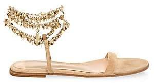 Gianvito Rossi Women's Beaded Suede Flat Sandals