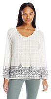 Democracy Women's 3/4 Woven Peasant with Bordered Embroidery and Tassel