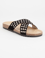 Qupid Grommet Cross Strap Womens Sandals