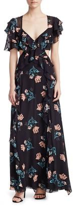 Nicholas Piper Silk Cutout Long Dress